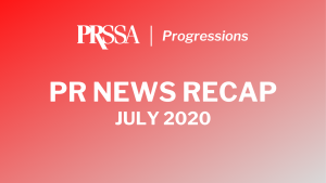 PR News Recap- July 2020 white text on a red gradient background