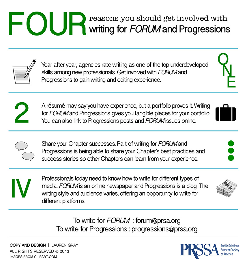 Four Reasons You Should Get Involved with Writing for FORUM and Progressions [INFOGRAPHIC] | Progressions