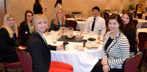 MSU PRSSA members mix and mingle over breakfast before the sessions begin. Photo by Danielle O'Brien.