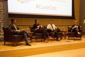 From left to right: Imran Khan, creative agency lead at Google, Kristina Weise, director of global PR at Soundcloud, Craig Radow, dIrector of media relations at 20th Century Fox, and Kate Brodock, director of the Center for Social Commerce and adjucnt Newhouse professor. Photo courtesy of CuseCon