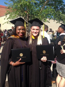 Jasmine C. Tate with classmate Hayley Taylor on graduation day.