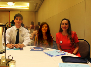 USMP PRSSA Chapter members (left to right) President César Zapata, Vide President Paola Valdez and Professional Adviser Carolina Spell at the PRSSA 2016 Leadership Rally.