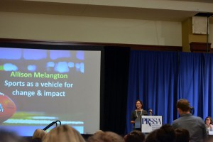 Allison Mellangton, senior vice president at Hulman Motorsports Corporation, giving the Opening Keynote Address. Photo courtesy of Elsa Embler.