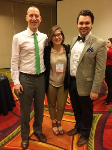 Emma Finkbeiner poses with 2014–2015 National Committee members Brian Price and Jordan Paquet at National Assembly in Portland. Oregon.