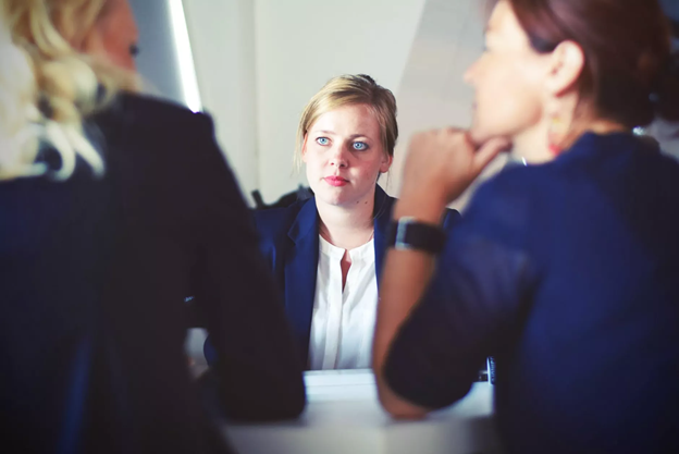 Stock photo of a person in a meeting