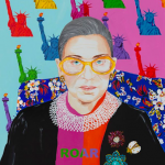 Colorful artwork depicting Ruth Bader Ginsburg created by Ashley Longshore