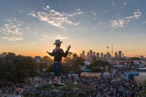 The State Fair of Texas at Sundown. Focusing on Big Tex Circle.