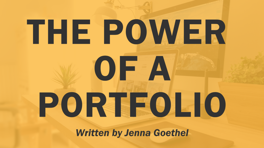 """The power of a portfolio"" graphic. ""Written by Jenna Goethel"""