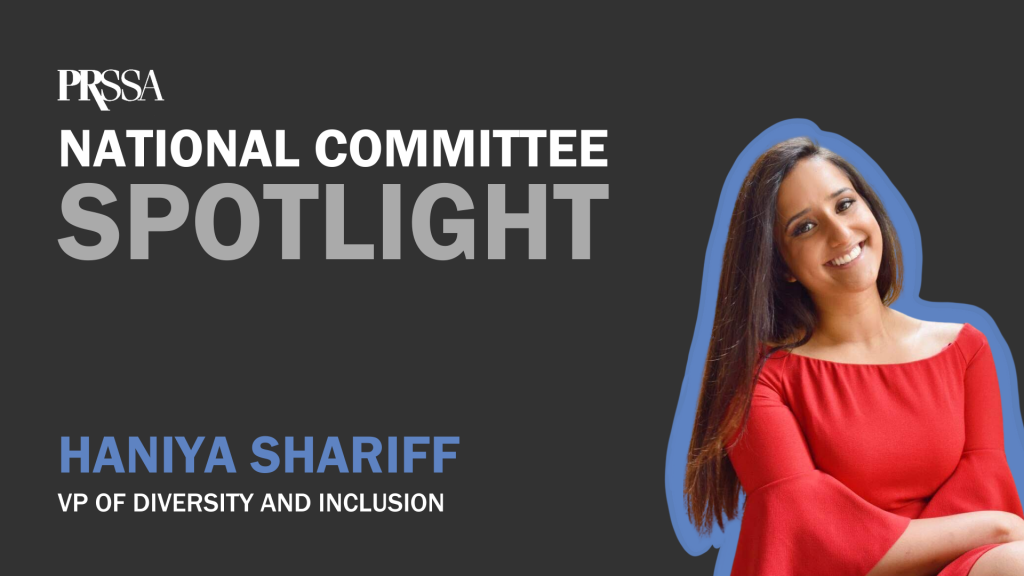 """National Committee Spotlight- Diversity and Inclusion"" graphic with Haniya Shariff headshot"